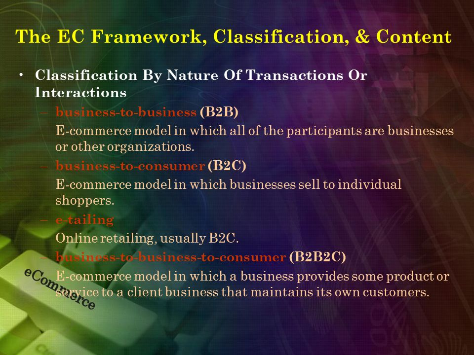 Classification By Nature Of Transactions Or Interactions – business-to-business (B2B) E-commerce model in which all of the participants are businesses