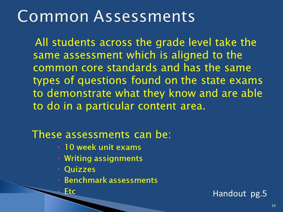 All students across the grade level take the same assessment which is aligned to the common core standards and has the same types of questions found on the state exams to demonstrate what they know and are able to do in a particular content area.
