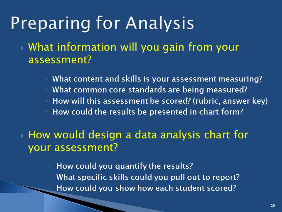  What information will you gain from your assessment.