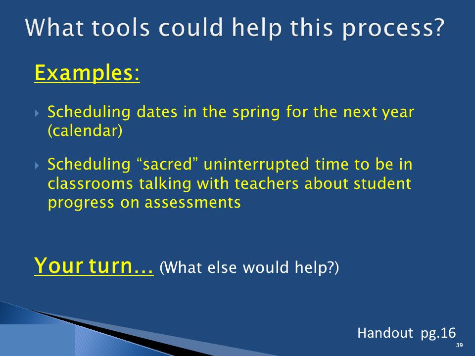 Examples:  Scheduling dates in the spring for the next year (calendar)  Scheduling sacred uninterrupted time to be in classrooms talking with teachers about student progress on assessments Your turn… (What else would help ) 39 Handout pg.16