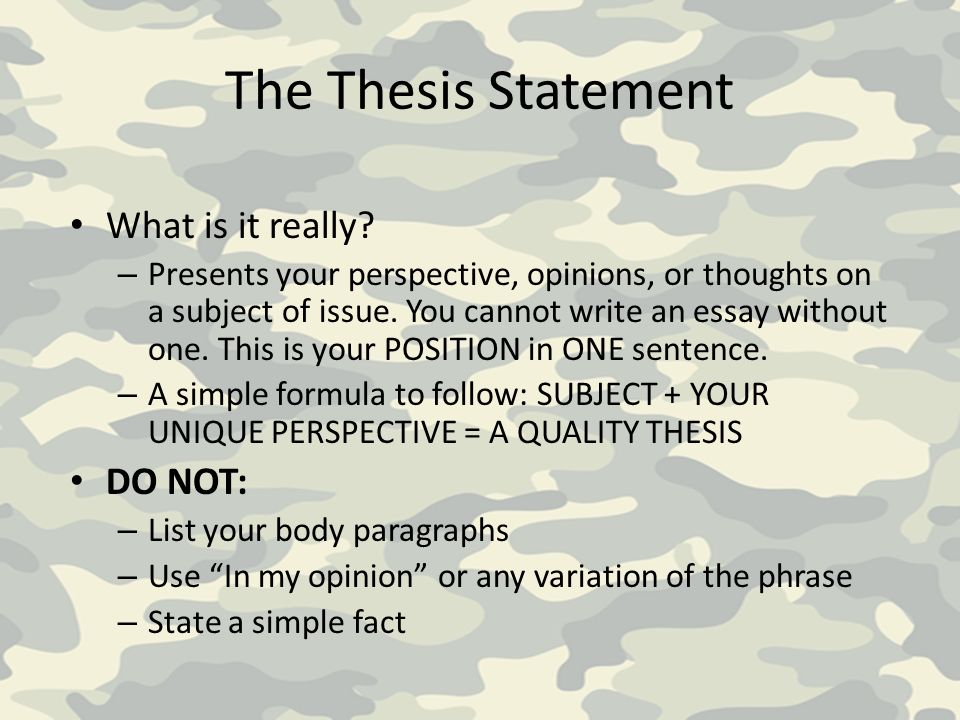 Research Paper Samples Essay What Is The Formula For Creating A Thesis Statement Slideplayer Example Of  Thesis Statements For Persuasive Examples Of Argumentative Thesis Statements For Essays also Proposal Essay Ideas Authoris Essay Writer For You One Enjoy Simple Thesis Statement  Example Of Thesis Statement For Argumentative Essay