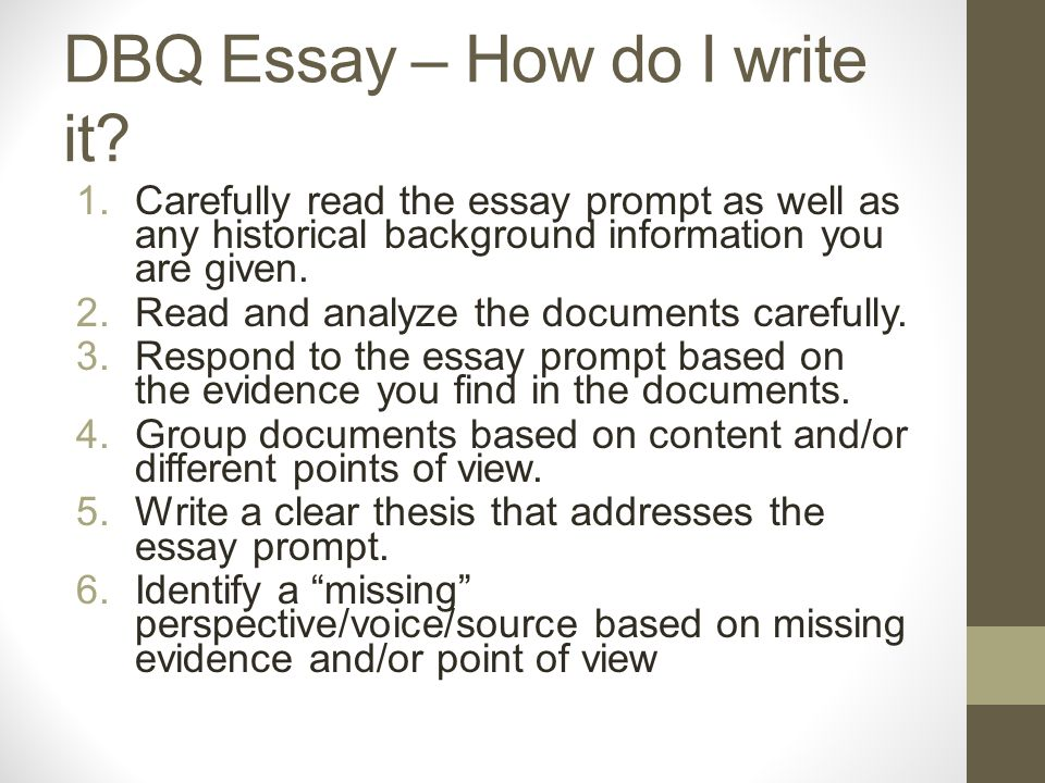 how do i write a good dbq essay