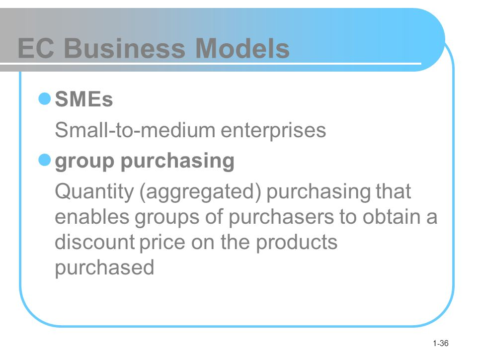 1-36 EC Business Models SMEs Small-to-medium enterprises group purchasing Quantity (aggregated) purchasing that enables groups of purchasers to obtain a discount price on the products purchased