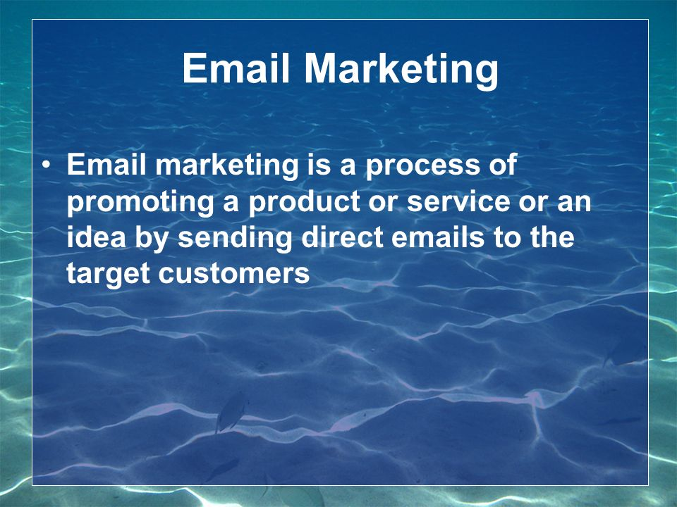 Marketing  marketing is a process of promoting a product or service or an idea by sending direct  s to the target customers