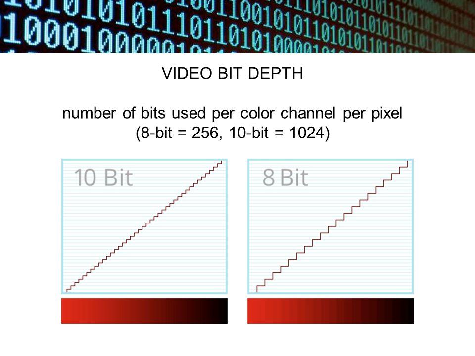 VIDEO BIT DEPTH number of bits used per color channel per pixel (8-bit = 256, 10-bit = 1024)