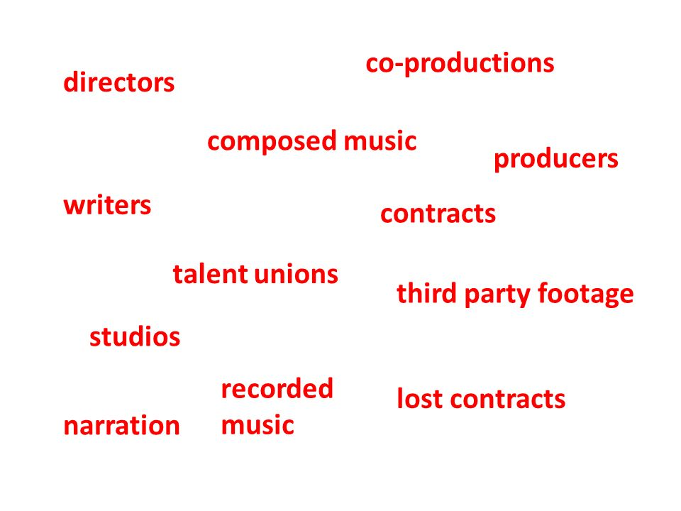 talent unions contracts narration writers co-productions studios directors recorded music composed music third party footage lost contracts producers