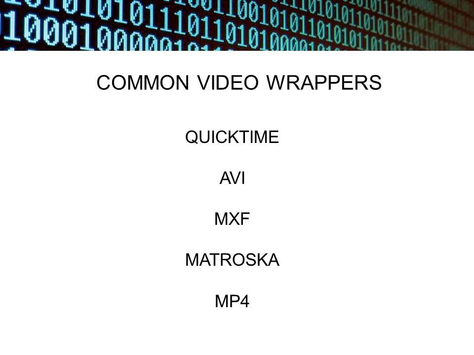 COMMON VIDEO WRAPPERS QUICKTIME AVI MXF MATROSKA MP4