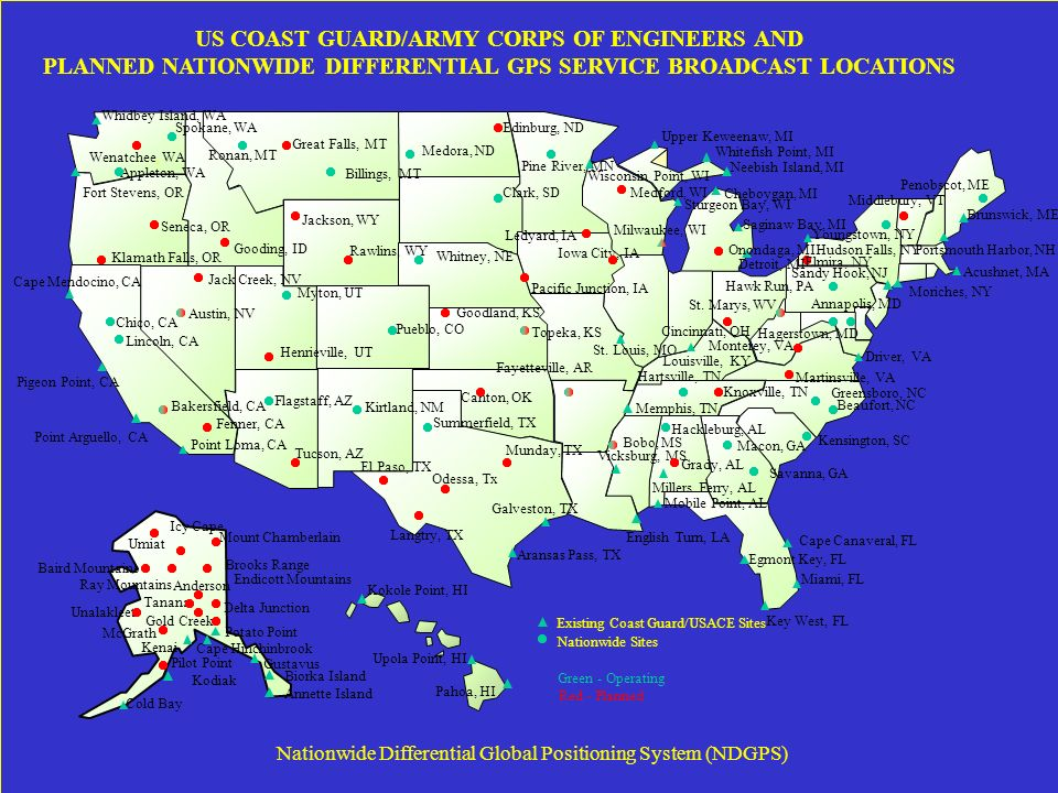 Nationwide Differential Global Positioning System NDGPS - Us coast guard bases map