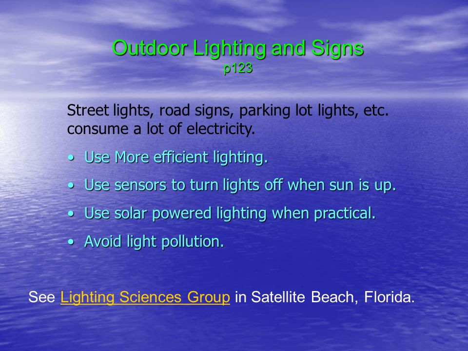Outdoor Lighting and Signs p123 See Lighting Sciences Group in Satellite Beach Florida.Lighting & Sustainable Energy Systems Engineering Peter Gevorkian Ch 4 ... azcodes.com