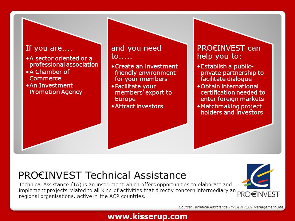 PRO€INVEST Technical Assistance Technical Assistance (TA) is an instrument which offers opportunities to elaborate and implement projects related to all kind of activities that directly concern intermediary and regional organisations, active in the ACP countries.