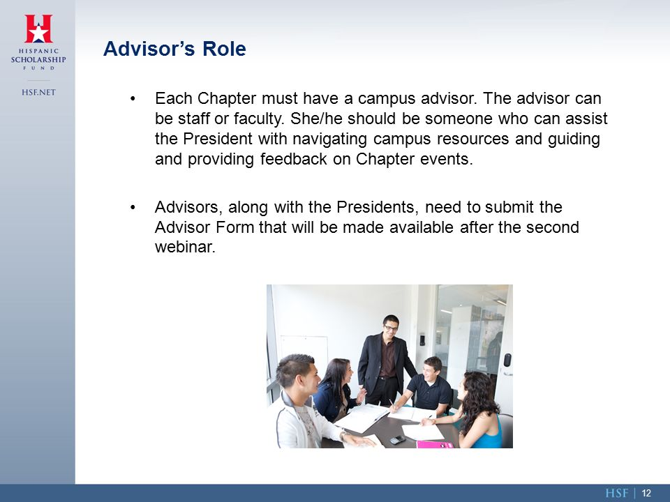Each Chapter must have a campus advisor. The advisor can be staff or faculty.