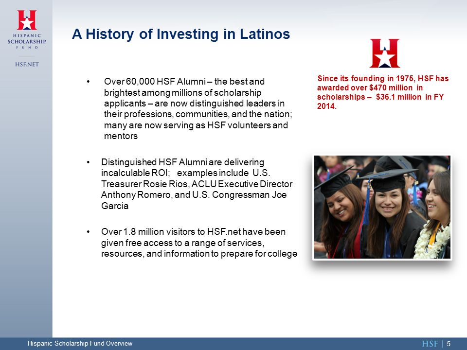 Over 60,000 HSF Alumni – the best and brightest among millions of scholarship applicants – are now distinguished leaders in their professions, communities, and the nation; many are now serving as HSF volunteers and mentors Distinguished HSF Alumni are delivering incalculable ROI; examples include U.S.