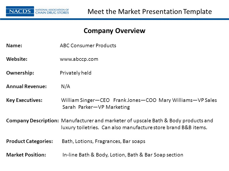 Meet The Market Presentation Template Company Overview Name: ABC Consumer  Products Website: Www.  Company Description Template