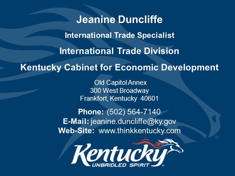 Kentucky Cabinet for Economic Development International Trade ...