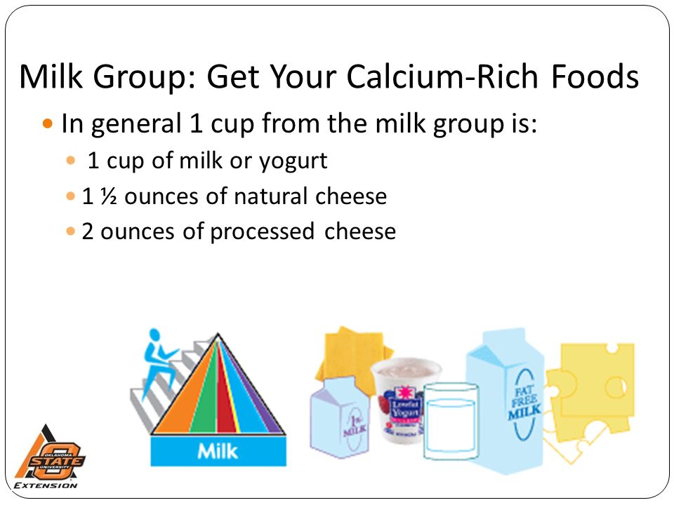 Milk Group: Get Your Calcium-Rich Foods In general 1 cup from the milk group is: 1 cup of milk or yogurt 1 ½ ounces of natural cheese 2 ounces of processed cheese