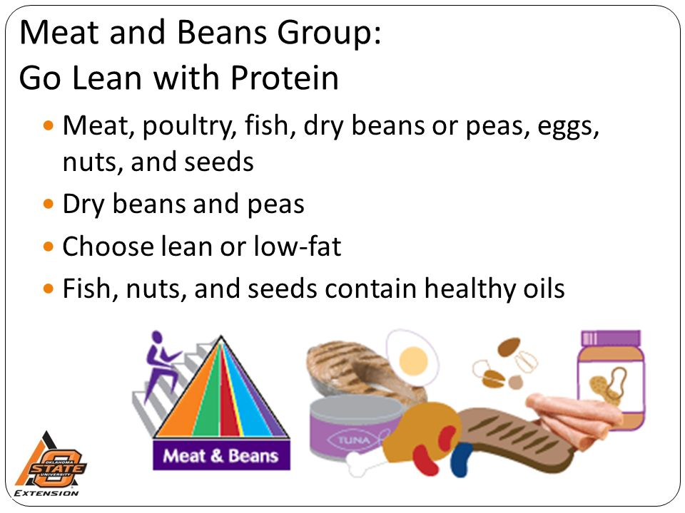 Meat and Beans Group: Go Lean with Protein Meat, poultry, fish, dry beans or peas, eggs, nuts, and seeds Dry beans and peas Choose lean or low-fat Fish, nuts, and seeds contain healthy oils