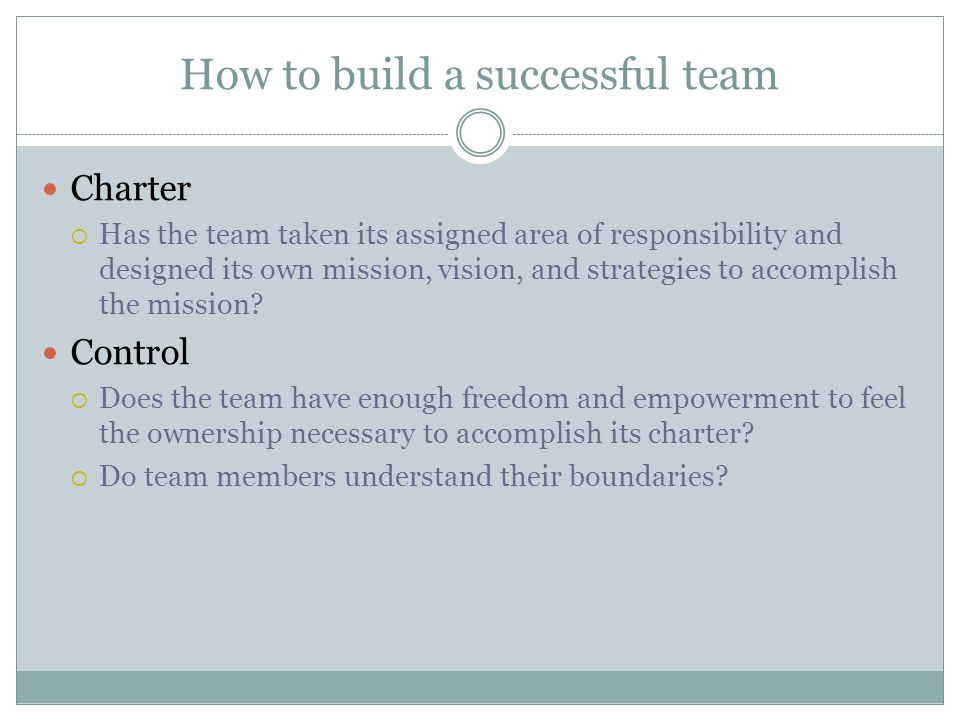 How to build a successful team Charter  Has the team taken its assigned area of responsibility and designed its own mission, vision, and strategies t