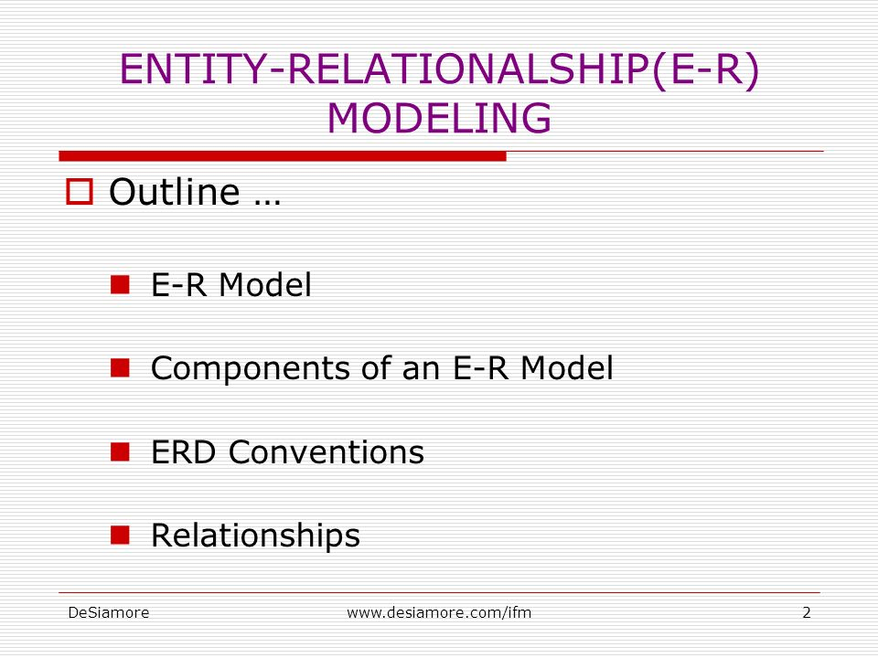 DeSiamorewww.desiamore.com/ifm2 ENTITY-RELATIONALSHIP(E-R) MODELING  Outline … E-R Model Components of an E-R Model ERD Conventions Relationships