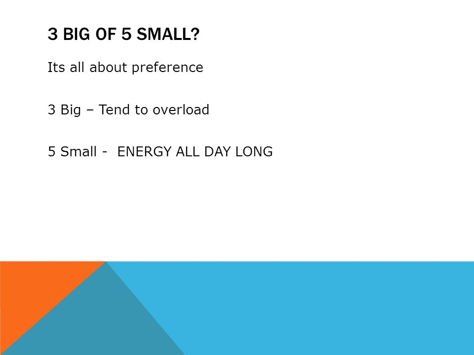 3 BIG OF 5 SMALL Its all about preference 3 Big – Tend to overload 5 Small - ENERGY ALL DAY LONG