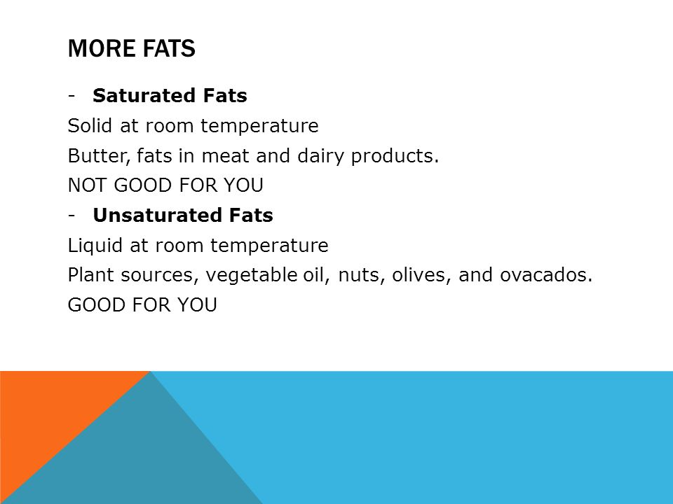 MORE FATS -Saturated Fats Solid at room temperature Butter, fats in meat and dairy products.