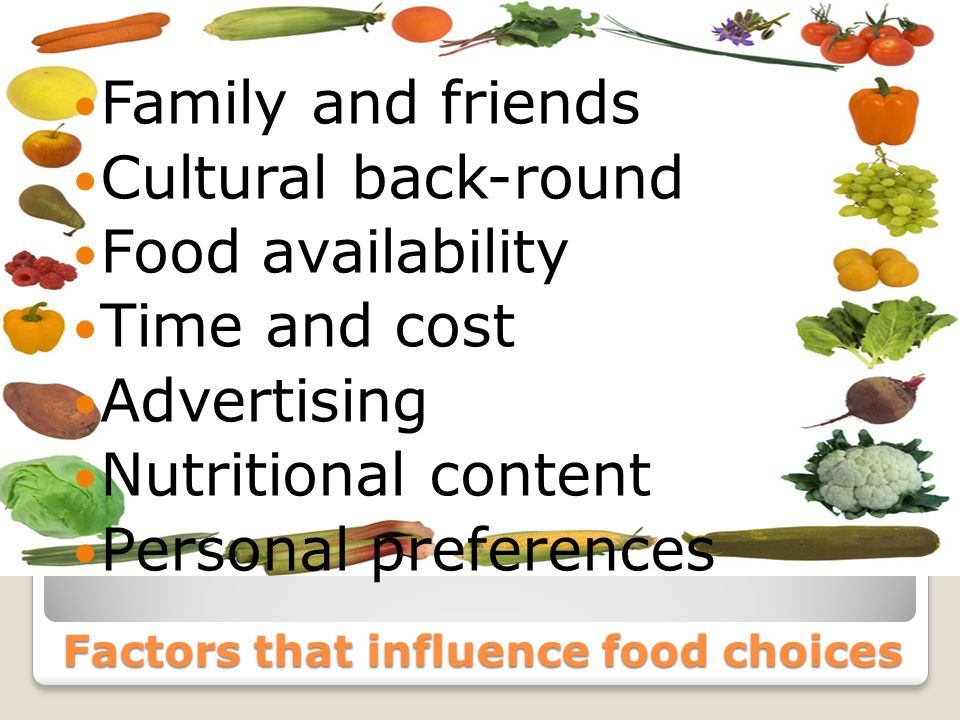 Factors that influence food choices Family and friends Cultural back-round Food availability Time and cost Advertising Nutritional content Personal preferences