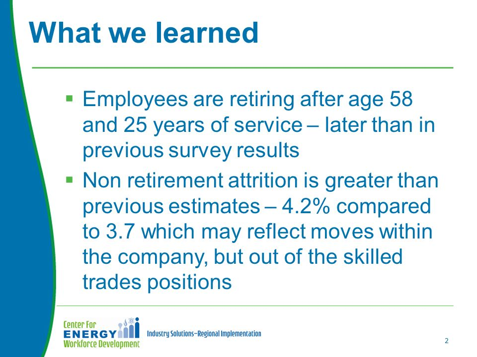  Employees are retiring after age 58 and 25 years of service – later than in previous survey results  Non retirement attrition is greater than previous estimates – 4.2% compared to 3.7 which may reflect moves within the company, but out of the skilled trades positions What we learned 2