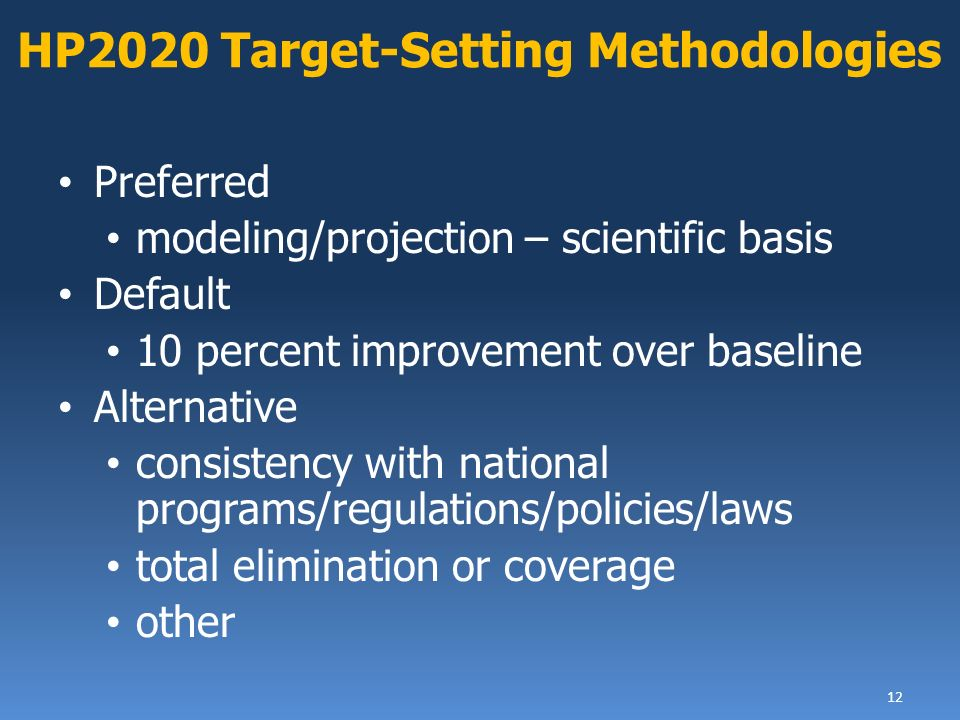 Preferred modeling/projection – scientific basis Default 10 percent improvement over baseline Alternative consistency with national programs/regulations/policies/laws total elimination or coverage other 12 HP2020 Target-Setting Methodologies
