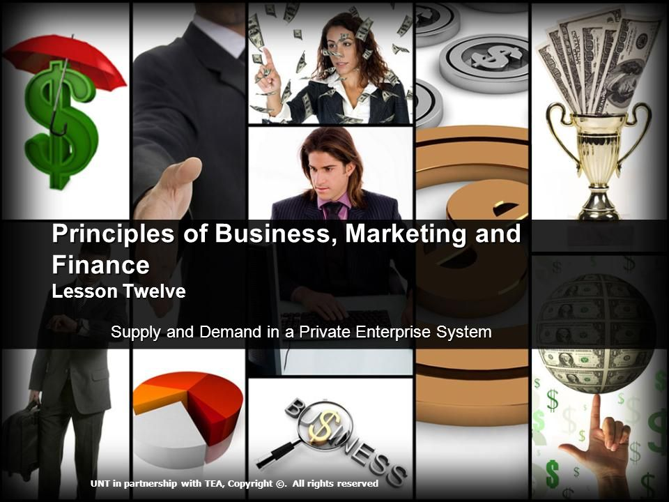 Principles of Business, Marketing and Finance Lesson Twelve Supply and Demand in a Private Enterprise System Supply and Demand in a Private Enterprise System UNT in partnership with TEA, Copyright ©.