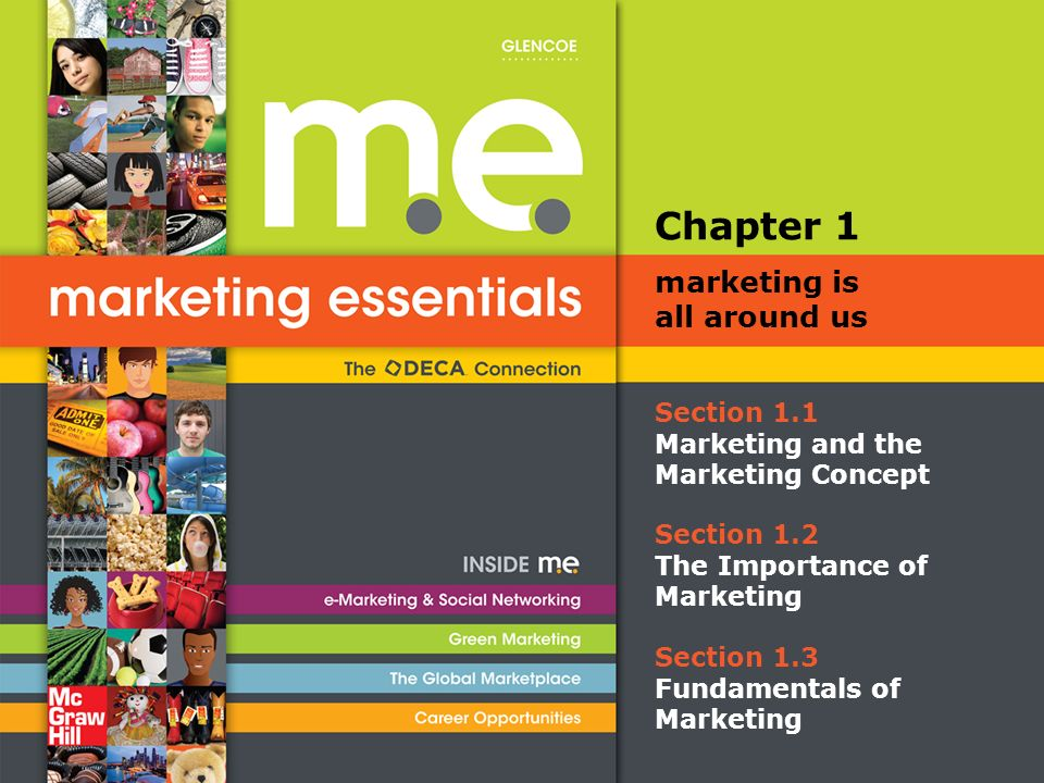 Section 1.1 Marketing and the Marketing Concept Chapter 1 marketing is all around us Section 1.2 The Importance of Marketing Section 1.3 Fundamentals of Marketing