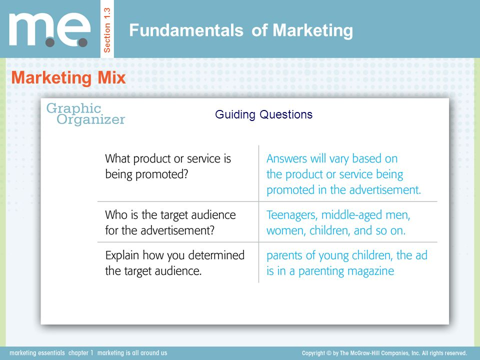 Fundamentals of Marketing Marketing Mix Section 1.3 Guiding Questions