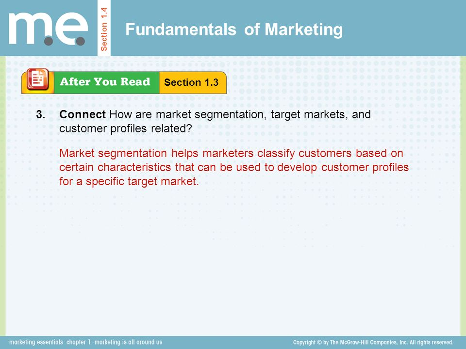 Fundamentals of Marketing Section 1.4 Connect How are market segmentation, target markets, and customer profiles related.