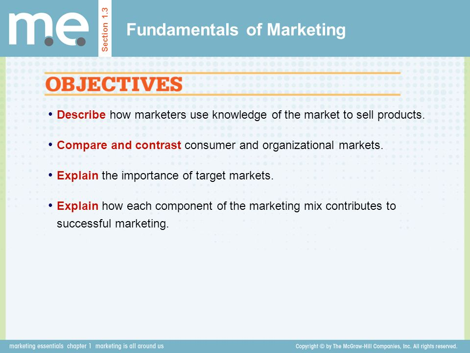 Fundamentals of Marketing Section 1.3 Describe how marketers use knowledge of the market to sell products.