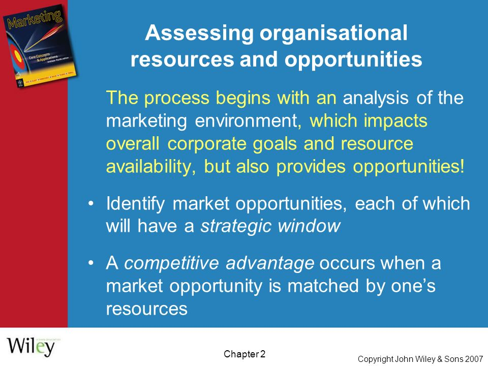 Copyright John Wiley & Sons 2007 Chapter 2 Assessing organisational resources and opportunities The process begins with an analysis of the marketing environment, which impacts overall corporate goals and resource availability, but also provides opportunities.