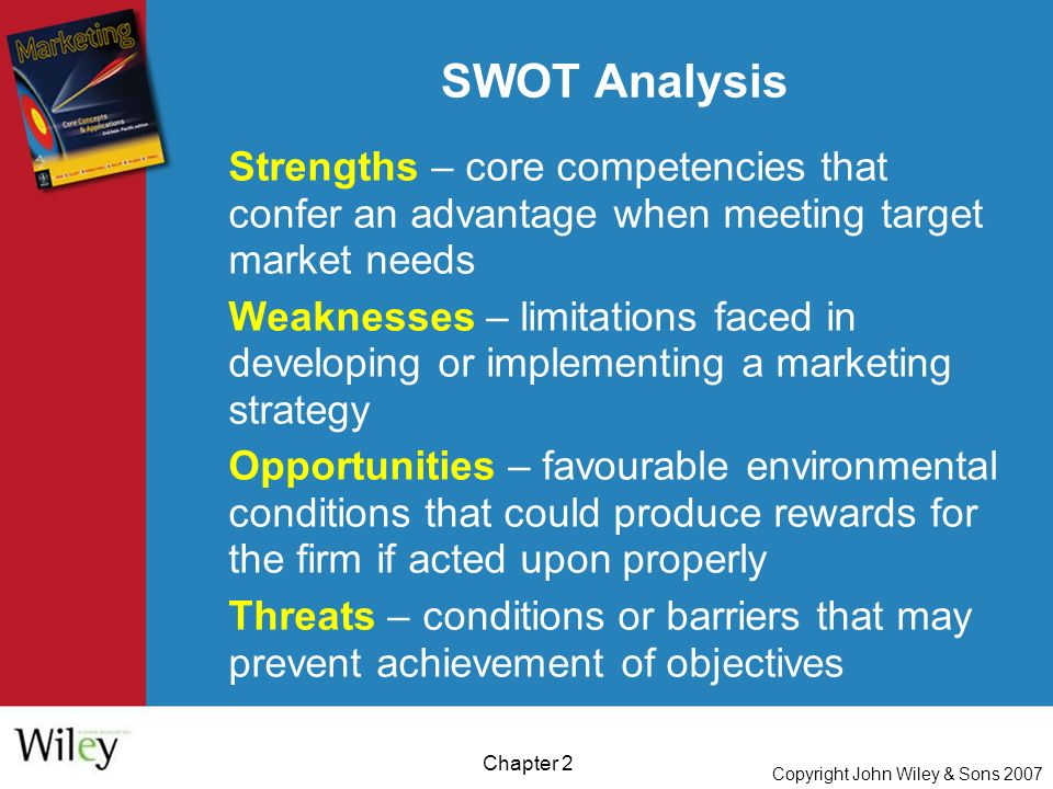 Copyright John Wiley & Sons 2007 Chapter 2 Strengths – core competencies that confer an advantage when meeting target market needs Weaknesses – limitations faced in developing or implementing a marketing strategy Opportunities – favourable environmental conditions that could produce rewards for the firm if acted upon properly Threats – conditions or barriers that may prevent achievement of objectives SWOT Analysis