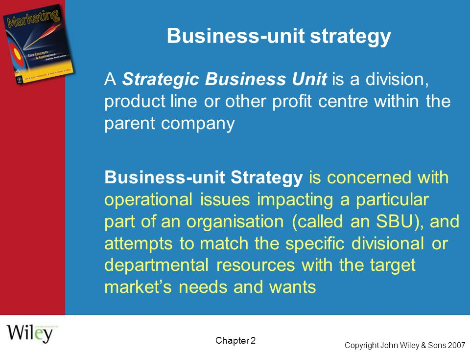 Copyright John Wiley & Sons 2007 Chapter 2 A Strategic Business Unit is a division, product line or other profit centre within the parent company Business-unit Strategy is concerned with operational issues impacting a particular part of an organisation (called an SBU), and attempts to match the specific divisional or departmental resources with the target market's needs and wants Business-unit strategy