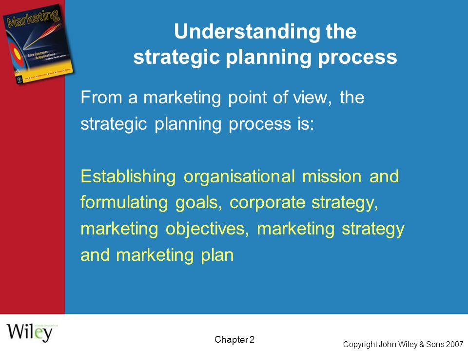 Copyright John Wiley & Sons 2007 Chapter 2 Understanding the strategic planning process From a marketing point of view, the strategic planning process is: Establishing organisational mission and formulating goals, corporate strategy, marketing objectives, marketing strategy and marketing plan