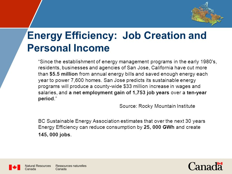 Energy Efficiency: Job Creation and Personal Income Since the establishment of energy management programs in the early 1980 s, residents, businesses and agencies of San Jose, California have cut more than $5.5 million from annual energy bills and saved enough energy each year to power 7,600 homes.
