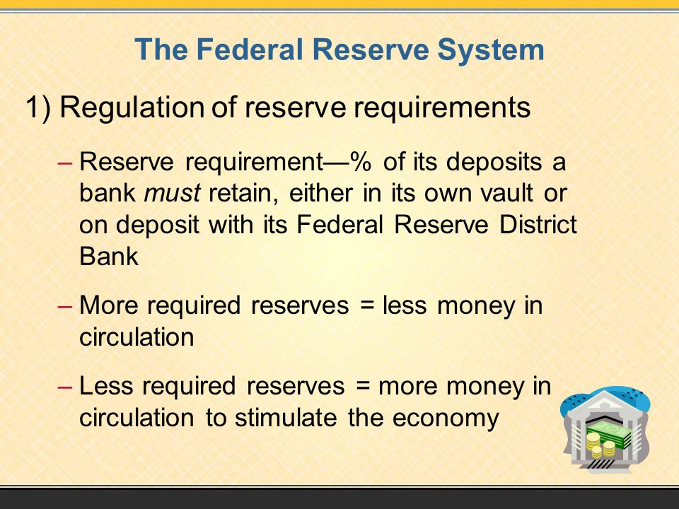 The Federal Reserve System 1) Regulation of reserve requirements –Reserve requirement—% of its deposits a bank must retain, either in its own vault or on deposit with its Federal Reserve District Bank –More required reserves = less money in circulation –Less required reserves = more money in circulation to stimulate the economy