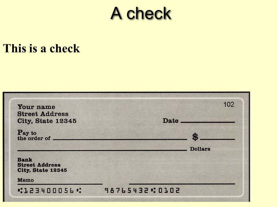 A check This is a check