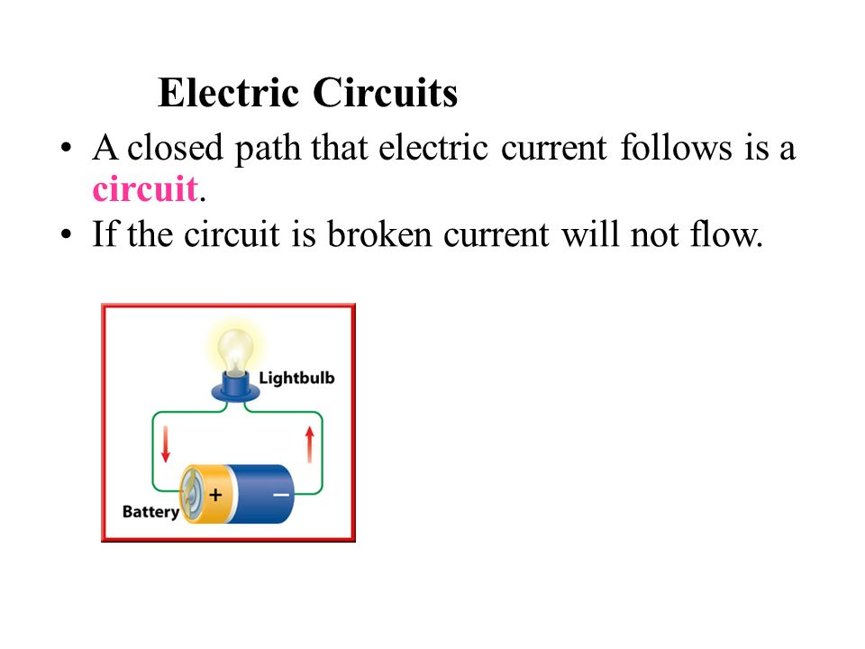 Electric Circuits A closed path that electric current follows is a circuit.