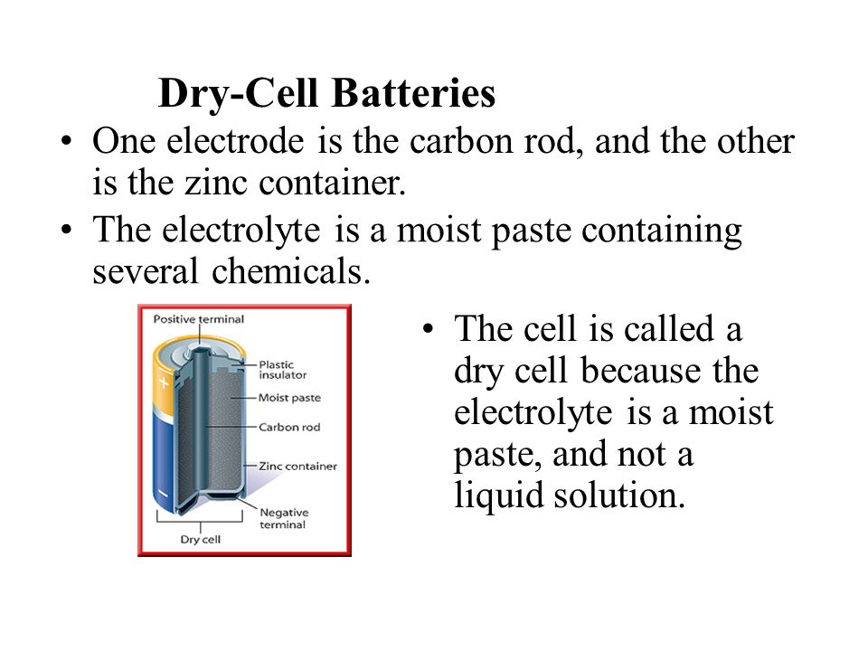 Dry-Cell Batteries One electrode is the carbon rod, and the other is the zinc container.