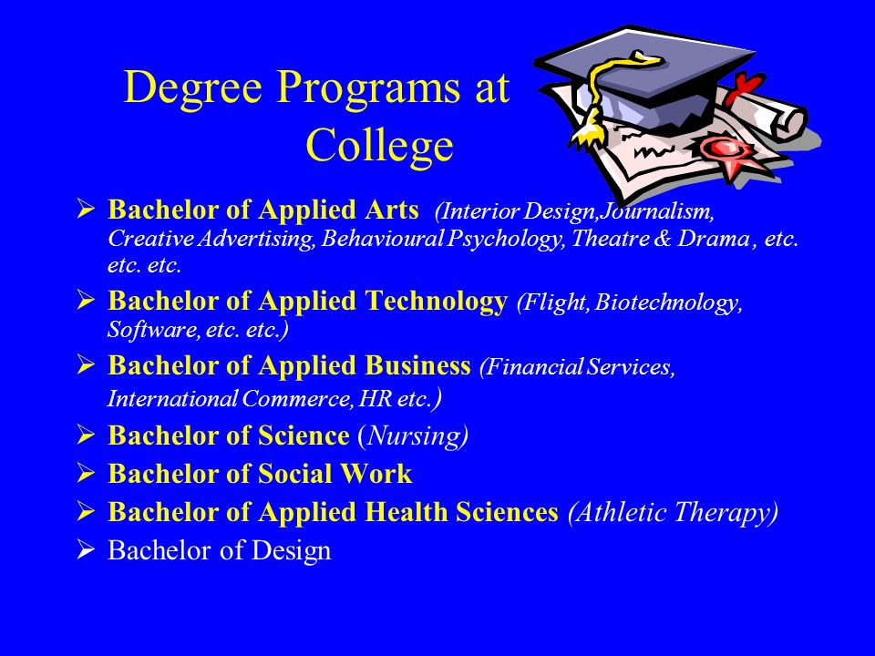 Degree Programs at College Bachelor of Applied Arts (Interior Design,Journalism,  Creative