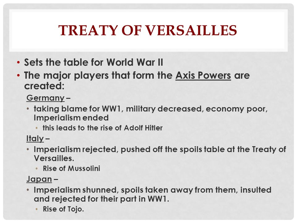 How did treaty of versailles help cause WW2? a paragraph please?