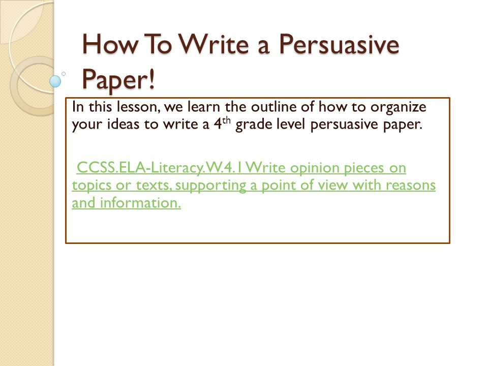 writing a persuasive paper When writing a research paper, you may need to use a more formal, less personal tone your forecast might read like this:.