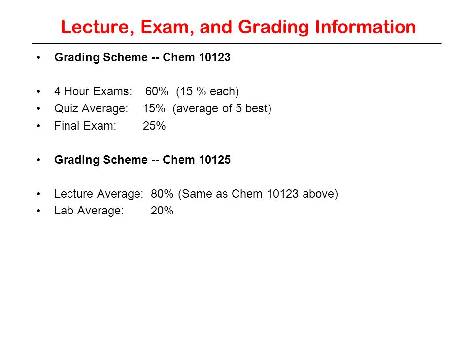 Lecture, Exam, and Grading Information Grading Scheme -- Chem Hour Exams: 60% (15 % each) Quiz Average: 15% (average of 5 best) Final Exam: 25% Grading Scheme -- Chem Lecture Average: 80% (Same as Chem above) Lab Average: 20%