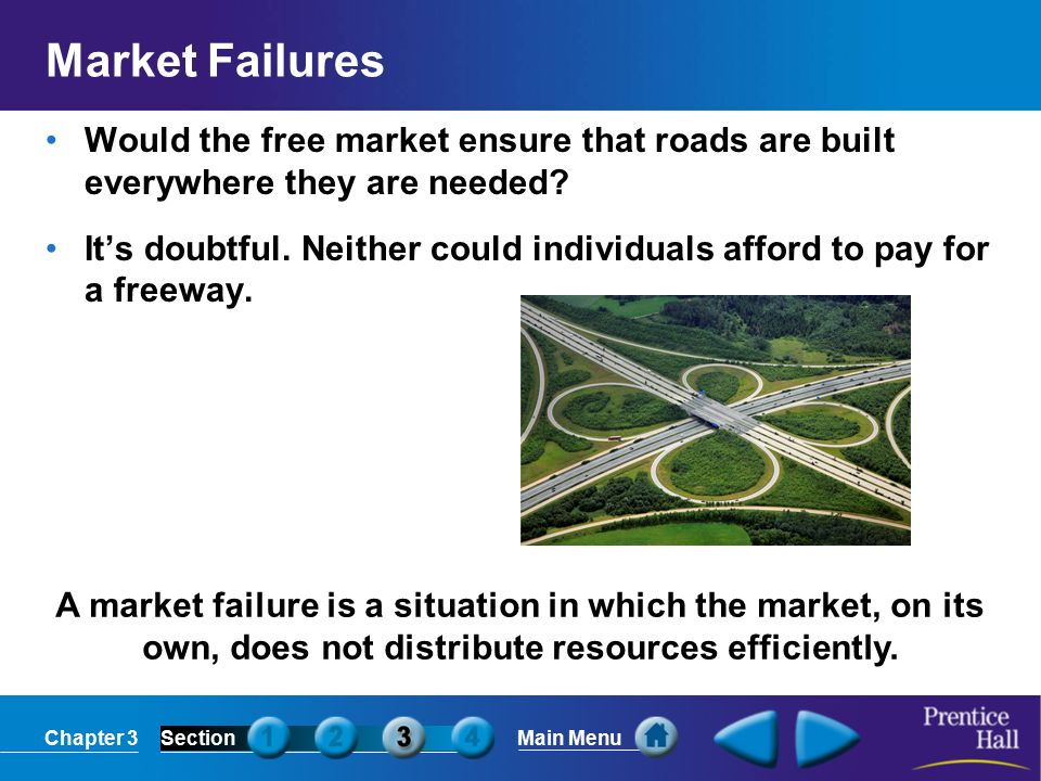 Chapter 3SectionMain Menu A market failure is a situation in which the market, on its own, does not distribute resources efficiently.