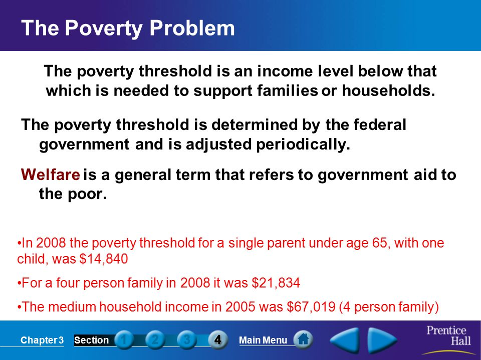 Chapter 3SectionMain Menu The poverty threshold is an income level below that which is needed to support families or households.