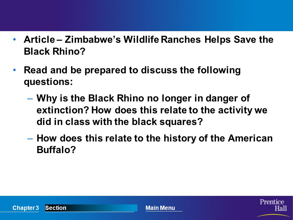 Chapter 3SectionMain Menu Article – Zimbabwe's Wildlife Ranches Helps Save the Black Rhino.