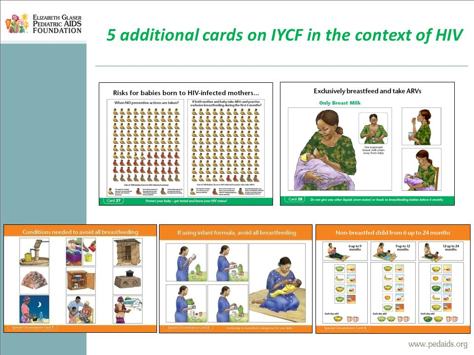 5 additional cards on IYCF in the context of HIV