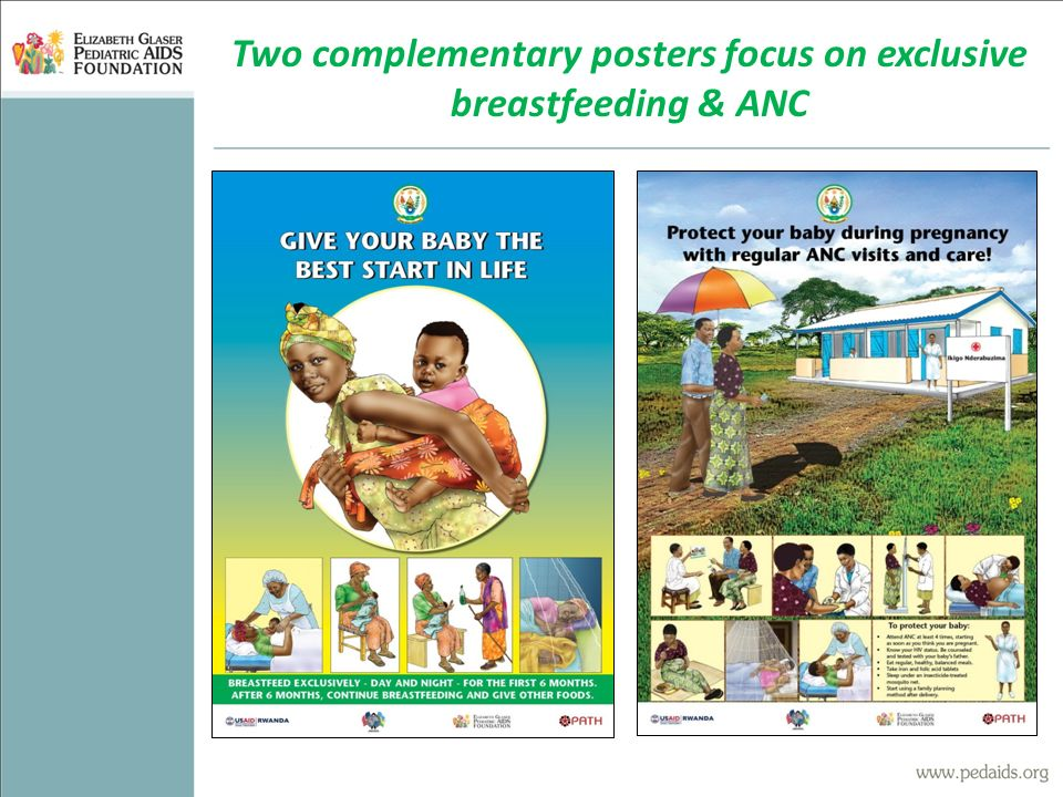 Two complementary posters focus on exclusive breastfeeding & ANC